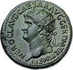obverse: Nero (54-68).  AE Dupondius, 65 AD. Obv. NERO CLAVD CAESAR AVG GER PM TR P IMP PP. Radiate head left. Rev. ROMA (in exergue) SC. Roma seated left on cuirass, holding wreath and resting on parazonium; around, miscellaneous weapons. RIC 297. AE. g. 14.80  mm. 27.60    EF. Superb coin; outstanding portrait.
