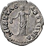 reverse: Vitellius (69 AD).  AR Denarius. Obv. A VITELLIVS GERM IMP AVG TR P.  Laureate head right. Rev. LIBERTAS RESTITVTA. Libertas, standing facing, head right, holding pileus and rod. RIC 105. AR. g. 3.24  mm. 18.50  R.  EF/About EF. In exceptional condition, lustrous.