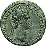 obverse: Nerva (96-98).  AE As, 97 AD. Obv. IMP NERVA CAES AVG PM TRP COS III PP. Laureate head right. Rev. FORTVNA AVGVST SC. Fortuna standing left, holding rudder and cornucopiae. RIC 83. AE. g. 10.85  mm. 27.00    EF. A bold portrait of great strength. A very pleasant untouched emerald-green patina.