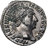 obverse: Trajan (98-117).  AR Denarius, 101-102 AD. Obv. IMP CAES NERVA TRAIAN AVG GERM. Laureate head right. Rev. PM TR P COS IIII PP. Victory standing right on prow ending in serpent, holding wreath and palm. RIC 59. C. 241. AR. g. 3.12  mm. 18.00   Light traces of uncleaned green deposits on obverse, otherwise about FDC. From fresh dies. A strong portrait in high relief and an exceptionally detailed reverse. Lightly toned.