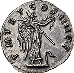 reverse: Trajan (98-117).  AR Denarius, 101-102 AD. Obv. IMP CAES NERVA TRAIAN AVG GERM. Laureate head right. Rev. PM TR P COS IIII PP. Victory standing right on prow ending in serpent, holding wreath and palm. RIC 59. C. 241. AR. g. 3.12  mm. 18.00   Light traces of uncleaned green deposits on obverse, otherwise about FDC. From fresh dies. A strong portrait in high relief and an exceptionally detailed reverse. Lightly toned.