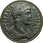 obverse: Trajan (98-117).  AE Contorniate. Obv. DIVO TRAIANO AVGVSTO. Laureate and cuirassed bust right. Engraved: SERONTI VIVAS and monogram PE. Rev. ...EVTHINIVS ... Charioteer driving fast quadriga right, holding palm branch.  AE. g. 25.29   RR. Slightly corroded and smoothed. VF/F.