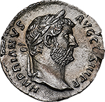 obverse: Hadrian (117-138).  AR Denarius. Obv. HADRIANVS AVG COS III PP. Laureate head right. Rev. FIDES PVBLICA. Fides standing right, holding corn-ears and basket of fruit. RIC 241 A. AR. g. 3.34  mm. 17.50  R.  About FDC. Rare and from fresh dies. A magnificent portrait and an exceptionally detailed reverse. Nice light toning with golden hues.