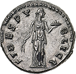 reverse: Hadrian (117-138).  AR Denarius. Obv. HADRIANVS AVG COS III PP. Laureate head right. Rev. FIDES PVBLICA. Fides standing right, holding corn-ears and basket of fruit. RIC 241 A. AR. g. 3.34  mm. 17.50  R.  About FDC. Rare and from fresh dies. A magnificent portrait and an exceptionally detailed reverse. Nice light toning with golden hues.