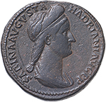 obverse:  Sabina, wife of Hadrian (died 137 AD).  AE Sestertius. Obv. SABINA AVGVSTA HADRIANI AVG PP. Draped bust right, hair tied in plait at back. Rev. VESTA SC (in exergue). Vesta seated left, holding Palladium and sceptre. RIC (Hadr.) 1036. AE. g. 24.14  mm. 31.00  Scarce.  VF. Brown patina.