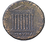 reverse:  Antinous (died 130 AD).  AE 35 mm. Obv. ANTINOOC ΗΕΡΩC. Bare head left. Rev. Octastyle temple; in exergue, ΒΕΙΘΥΝΙΑC. SNG v. Aulock -. BMC -. Cf. for type Waddington 244, 61. AE. g. 23.56   RRR. Gently smoothed, otherwise good VF. Extremely rare, apparently unpublished. Light leather-brown patina.