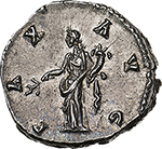 reverse: Antoninus Pius (138-161).  AR Denarius, 140-143 AD. Obv. ANTONINVS AVG PIVS PP COS III. Laureate head right. Rev. PAX AVG. Pax standing left, holding branch and cornucopiae. RIC 78 (c). AR. g. 3.16  mm. 18.50    FDC. Enchanting light iridescent tone and virtually as struck. Exceptional.