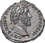 reverse: Antoninus Pius and Marcus Aurelius Caesar.  AR Denarius, 140-144 AD. Obv. ANTONINVS AVG PIVS PP TR P COS III. Laureate head of Antoninus Pius right. Rev. AVRELIVS CAESAR AVG PII F COS. Bare-headed and draped bust of Marcus Aurelius right. RIC 417 c. C. 22. AR. g. 3.38  mm. 17.50  R.  About FDC. Rare. Two magnificent portraits and superb iridescent toning. Exceptional.