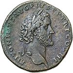 obverse: Antoninus Pius (138-161).  AE Sestertius, 140-144 AD. Obv. ANTONINVS AVG PIVS P P TR P COS III. Laureate bust right. Rev. APOLLINI AVGVSTO SC. Apollo standing facing, head left, holding patera and lyre. RIC 598. AE. g. 27.28  mm. 32.50    Good VF/VF.