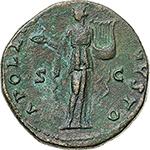 reverse: Antoninus Pius (138-161).  AE Sestertius, 140-144 AD. Obv. ANTONINVS AVG PIVS P P TR P COS III. Laureate bust right. Rev. APOLLINI AVGVSTO SC. Apollo standing facing, head left, holding patera and lyre. RIC 598. AE. g. 27.28  mm. 32.50    Good VF/VF.