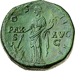 reverse: Antoninus Pius (138-161).  AE Sestertius, 145-161. Obv. ANTONINVS AVG PIVS PP TR P. Laureate head right. Rev. PAX AVG COS IIII SC. Pax standing left, setting fire with torch to heap of arms and holding cornucopiae. RIC 777. C. 594. AE. g. 28.70  mm. 31.00    About EF. A pleasant portrait. Emerald green patina.