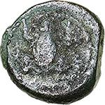 obverse: Italy. Northern Apulia, Venusia.   AE Semuncia (?), circa 210-200 BC. Obv. Frog. Rev. Crab; below, V[E]. HN Italy 725. SNG ANS -. AE. g. 1.70  mm. 12.50  RRRR.  VF. Extremely rare.