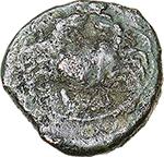 reverse: Italy. Northern Apulia, Venusia.   AE Semuncia (?), circa 210-200 BC. Obv. Frog. Rev. Crab; below, V[E]. HN Italy 725. SNG ANS -. AE. g. 1.70  mm. 12.50  RRRR.  VF. Extremely rare.