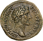 obverse:  Antoninus Pius (138-161).  AE Sestertius, 148-149 AD. Obv. ANTONINVS AVG PIVS PP TR P XII. Laureate head right. Rev. ANNONA AVG SC COS IIII (in exergue). Annona standing facing, head left, holding ears over modius and anchor. RIC 854. AE. g. 20.21  mm. 32.00    Good VF. Tiber patina.