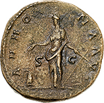 reverse:  Antoninus Pius (138-161).  AE Sestertius, 148-149 AD. Obv. ANTONINVS AVG PIVS PP TR P XII. Laureate head right. Rev. ANNONA AVG SC COS IIII (in exergue). Annona standing facing, head left, holding ears over modius and anchor. RIC 854. AE. g. 20.21  mm. 32.00    Good VF. Tiber patina.