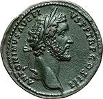 obverse: Antoninus Pius and Marcus Aurelius.  AE Sestertius. Obv. ANTONINVS AVG PIVS PP TR P COS III. Laureate head of Antoninus Pius right. Rev. AVRELIVS CAESAR AVG PII F COS. Draped bust of Marcus Aurelius right, head bare. RIC 1212. AE. g. 22.81  mm. 34.00  R.  EF. Wonderful specimen. Dark patina.