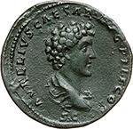 reverse: Antoninus Pius and Marcus Aurelius.  AE Sestertius. Obv. ANTONINVS AVG PIVS PP TR P COS III. Laureate head of Antoninus Pius right. Rev. AVRELIVS CAESAR AVG PII F COS. Draped bust of Marcus Aurelius right, head bare. RIC 1212. AE. g. 22.81  mm. 34.00  R.  EF. Wonderful specimen. Dark patina.