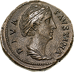 obverse: Faustina I, wife of Antoninus Pius (died 141 AD).  AE Sestertius, after 141 AD. Obv. DIVA FAVSTINA. Draped bust right. Rev. AETERNITAS SC. Juno (?) standing left, raising right hand and holding sceptre. RIC Ant. Pius 1102. C. 28. AE. g. 24.31  mm. 31.00   Slightly porous surfaces, otherwise about EF/EF. A lovely portrait and light brown patina; orichalcum surfaces. An attractive river coin.
