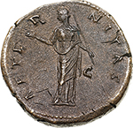 reverse: Faustina I, wife of Antoninus Pius (died 141 AD).  AE Sestertius, after 141 AD. Obv. DIVA FAVSTINA. Draped bust right. Rev. AETERNITAS SC. Juno (?) standing left, raising right hand and holding sceptre. RIC Ant. Pius 1102. C. 28. AE. g. 24.31  mm. 31.00   Slightly porous surfaces, otherwise about EF/EF. A lovely portrait and light brown patina; orichalcum surfaces. An attractive river coin.