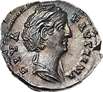 obverse: Faustina I (died 141 AD).  AR Denarius, after 141 AD. Obv. DIVA FAVSTINA. Draped bust right. Rev. AVGVSTA. Ceres veiled, standing facing, head right, holding sceptre and grain-ears. RIC (Ant. Pius) 389. AR. g. 3.21  mm. 18.00    About FDC. Superb iridescent tone and virtually as struck. Exceptional.