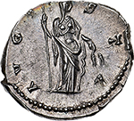 reverse: Faustina I (died 141 AD).  AR Denarius, after 141 AD. Obv. DIVA FAVSTINA. Draped bust right. Rev. AVGVSTA. Ceres veiled, standing facing, head right, holding sceptre and grain-ears. RIC (Ant. Pius) 389. AR. g. 3.21  mm. 18.00    About FDC. Superb iridescent tone and virtually as struck. Exceptional.