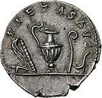 reverse: Marcus Aurelius as Caesar (139-161).  AR Denarius, 140-144. Obv. AVRELIVS CAESAR AVG PII F COS. Bare head right. Rev. PIETAS AVG. Knife, sprinkler, ewer, lituus and simpulum. RIC 424 (c). AR. g. 3.00  mm. 18.50  R.  Good EF. Rare and superb. Lightly toned.
