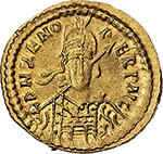 obverse: Ostrogothic Italy, Odovacar (476-493).  AV Solidus, in the name of Zeno. Mediolanum mint, c. 476-477 or 480-491. Obv. DN ZENO PERP AVC (AV ligate.). Pearl-diademed, helmeted and cuirassed facing bust, holding spear and shield. Rev. VICTORIA AVCCC. Victory standing left, holding jewelled long cross; in field, M-D; to left, star; in exergue, COMOB. Cf. Lacam 56. RIC X 3601 var. (AV ligate) (Zeno) (R4). AV. g. 4.45  mm. 20.50  RRR. Some light striking weakness, otherwise EF. Odovacar was the first barbarian king of the Italian peninsula. He deposed the last Western Emperor Romulus Augustus and murdered his father Orestes. He then sent the imperial regalia to Zeno in Constantinople who became nominally Emperor of the reunited Empire giving him the title of patrician. Although Odovacar became the effective ruler of the most of Italy, he antagonized the Emperor in styling himself King.  Eventually Zeno engaged Theodoric the King of the Ostroghts to invade Italy; he captured most of it and besieged Odovacar in his Capital Ravenna. After a long siege Odovacar sought to make peace and apparently Theodoric killed him with his own hands at a victory banquet of reconciliation at hte Laureto palace. Extremely rare and in exceptional condition for the issue.