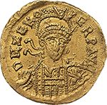obverse: Ostrogothic Italy, Theoderic as kings of the Goths (474-493).  AV Solidus, in the name of Zeno. Ticinum mint. Obv. DN ZENO PERP AVG. Pearl-diademed, helmeted and cuirassed bust facing slightly right, holding spear and shield. Rev. VICTORIA AVGGG B. Victory standing left, holding long cross; star to right; in exergue, CONOR. Lacam II, pl. 54, 9-12. AV. g. 4.41  mm. 19.00  RR.  Good VF/About EF. Very rare.