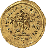 reverse: Ostrogothic Italy, Baduila (541-552).  AV Tremissis, in the name of Justinian I. Ticinum mint. Obv. DN IVSTINIANVS PP ΛVC. Pearl-diademed, draped and cuirassed bust right. Rev. VICTORΛ ΛVGVSTORVI. Victory advancing right, head left, holding wreath and globus cruciger; star to right, pellet at each end of ground line; in exergue, CONOB. Cf. MIB 33 var. Cf. MEC 1 var. AV. g. 1.47  mm. 16.00  RR.  About EF/EF. An outstanding example of this very rare issue.