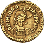 obverse: Suebi (?).  AV Solidus, imitating Theodosius II, 5th century AD. Obv. ON THEOOO SIVSPFΛVC. Armored bust facing. Irregular double dotted border. Rev. SALVSREI PVB LICAE. Theodosius seated facing, Valentinian III standing on the right, each holding mappa and cross-sceptre. Above, star; in exergue, CONOB. Irregular double dotted border. See LRC 370-373 for possible prototype. AV. g. 4.41  mm. 22.50  RRR.  Good VF. Extremely rare.