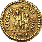 reverse: Suebi (?).  AV Solidus, imitating Theodosius II, 5th century AD. Obv. ON THEOOO SIVSPFΛVC. Armored bust facing. Irregular double dotted border. Rev. SALVSREI PVB LICAE. Theodosius seated facing, Valentinian III standing on the right, each holding mappa and cross-sceptre. Above, star; in exergue, CONOB. Irregular double dotted border. See LRC 370-373 for possible prototype. AV. g. 4.41  mm. 22.50  RRR.  Good VF. Extremely rare.