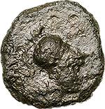obverse: Italy. Southern Apulia, Samadion.   AE 13 mm, 200-150 BC. Obv. Helmeted head of Athena right. Rev. Three crescents; around, SAMADI. HNItaly 821. AE. g. 1.45   RRR.  VF. Very rare.