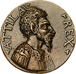 obverse: Aquileia. Attila the Hun (406-453 AD).  Bronze medal, 17th century. Obv. ATTILA REX. Bust of Attila as a faun left. Rev. AQVILEIA. View of the city of Aquileia. Att. 411. Volt. 374. AE.   mm. 51.00  Opus: Unsigned Italian artist.  Nice brown patina, high relief. EF. A very fine contemporary cast with high relief and touches of chisel. Nice brown patina.