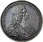 obverse: Florence. Cosimo III (1670-1723).  Silver medal 1703. Obv. Draped and cuirassed bust right. Rev. The allegorical figure of the River Arno lying right, holding rod terminating with lily in front of the Lion of the Medici; in the background, the City of Florence. Forrer VIII pag. 288. Heiss 257-7. AR.   mm. 47.00  Opus: I. V. Wolffgang.   EF.