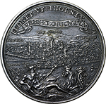reverse: Florence. Cosimo III (1670-1723).  Silver medal 1703. Obv. Draped and cuirassed bust right. Rev. The allegorical figure of the River Arno lying right, holding rod terminating with lily in front of the Lion of the Medici; in the background, the City of Florence. Forrer VIII pag. 288. Heiss 257-7. AR.   mm. 47.00  Opus: I. V. Wolffgang.   EF.