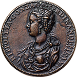 obverse: Guastalla. Hyppolyta di Ferdinando Gonzaga (1535-1563).  Cast medal. Obv. HIPPOLYTA GONZAGA FERDINANDI FIL AN XVI. Bust left; in inner arc, ΛΕΟΝ ΑΡΕΤΙΝΟΣ. Rev. Aurora riding through the heavens, on a chariot drawn by winged horse, carrying torch. Cf. Kress 432 (obv.)-438 (rev.). Cf. Toderi-Vannel 70 e 95. AE.   mm. 68.00  Opus: Leone Leoni e Jacopo Nizolla da Trezzo. RR. Small suspension hole. EF+. The third daughter of Ferrante Gonzaga, Lord of Guastalla (then Viceroy of Sicily and Governor of Milan ) and Isabella di Capua. She married first Fabrizio Colonna in 1551, widowed, in a second time, married Antonio Carafa Duke of Mondragone.  The medal, which celebrates the great beauty of Hippolyta, has the obv. signed by Leone Leoni. The reverse is instead attributed to Jacopo da Trezzo Nizzolla.  Superb leather-brown patina.