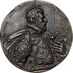 obverse: Lugo. Pietro Macchiavelli, from Lugo (2nd half of 16th cent.).  Cast uniface medal. Obv. PETRVS MACCHIAVL LVGIENSIS A. AR. Bust right.  Armand 1883-1887, III,A.  Toderi-Vannel 1260 (plate medal). AE.   mm. 82.00  Opus: Agostino Ardenti. RRR.  EF. Agostino Ardenti, from Faenza was active in Reggio Emilia in the 2nd half of the16th cent., in the circle of the Bombarda, Gian Antonio Signoretti and Alfonso Ruspagiari.