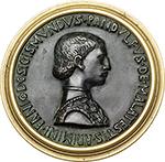 obverse: Rimini. Sigismondo Pandolfo Malatesta (1432-1468), Lord of Rimini.  Fantasy medal, composed of obv. by Pisanello and rev. by Matteo De  Pasti. Antique but later cast, set in brass mount. Obv. PANDVLFVS DE MALATESTIS ARIMINI FANI D SIGISMVNDVS. Bust of Sigismondo to right in surcoat, embroidered with Malatesta roses. Rev. ISOTE ARIMINENSI FORMA ET VIRTVTE ITALIE DECORI. Bust to right, hair over high frame, veil fastened with jewel on top of forehead. Cf. Hill-Pollard 12 (obv.), 59 (rev.). AE.   mm. 98.00  Opus: Pisanello/Matteo De  Pasti.   Good VF.