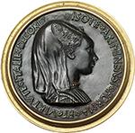 reverse: Rimini. Sigismondo Pandolfo Malatesta (1432-1468), Lord of Rimini.  Fantasy medal, composed of obv. by Pisanello and rev. by Matteo De  Pasti. Antique but later cast, set in brass mount. Obv. PANDVLFVS DE MALATESTIS ARIMINI FANI D SIGISMVNDVS. Bust of Sigismondo to right in surcoat, embroidered with Malatesta roses. Rev. ISOTE ARIMINENSI FORMA ET VIRTVTE ITALIE DECORI. Bust to right, hair over high frame, veil fastened with jewel on top of forehead. Cf. Hill-Pollard 12 (obv.), 59 (rev.). AE.   mm. 98.00  Opus: Pisanello/Matteo De  Pasti.   Good VF.