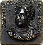 obverse: Venezia. Beatrice Rangona Rovorella (died 1573).  Rectangular cast medal, circa 1550. Obv. BEATRIX RANGONA ROVORELLA. Bust in high relief to front, inclined to left. Rev. FIDE ET PIETATE EGREDIAR. Three-masted ship, without sails, in a stormy sea. Armand 1883-1887,II,196,17.  Hill-Pollard 1967,95,499. Toderi-Vannel 1361. AE.    R. 61 x 58 mm. About EF. She was the wife of Ercole Rangoni, Lord of Spilamberto.