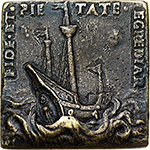reverse: Venezia. Beatrice Rangona Rovorella (died 1573).  Rectangular cast medal, circa 1550. Obv. BEATRIX RANGONA ROVORELLA. Bust in high relief to front, inclined to left. Rev. FIDE ET PIETATE EGREDIAR. Three-masted ship, without sails, in a stormy sea. Armand 1883-1887,II,196,17.  Hill-Pollard 1967,95,499. Toderi-Vannel 1361. AE.    R. 61 x 58 mm. About EF. She was the wife of Ercole Rangoni, Lord of Spilamberto.