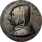 obverse: Verona. Timoteo Maffei, canon of Verona.  Cast medal, ante 1446. Obv. TIMOTHEO VERONENSI CANONICO REGVL DEI PRAECONI INSIGNI. Bust left with monk s habit. Rev. MATTHAEI PASTII VERONENSIS OPVS. The Holy Spirit as a dove on cloud and thunderbolts. Hill 159. AE.   mm. 89.00  Opus: Matteo de  Pasti. RRRR.  About EF. Antique cast. Maffei was canon like the brother of Matteo de Pasti, Benedetto, whom was also dedicated a medal (Hill 160).