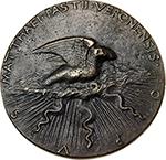 reverse: Verona. Timoteo Maffei, canon of Verona.  Cast medal, ante 1446. Obv. TIMOTHEO VERONENSI CANONICO REGVL DEI PRAECONI INSIGNI. Bust left with monk s habit. Rev. MATTHAEI PASTII VERONENSIS OPVS. The Holy Spirit as a dove on cloud and thunderbolts. Hill 159. AE.   mm. 89.00  Opus: Matteo de  Pasti. RRRR.  About EF. Antique cast. Maffei was canon like the brother of Matteo de Pasti, Benedetto, whom was also dedicated a medal (Hill 160).