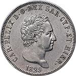 obverse: Regno di Sardegna. Carlo Felice (1821-1831). 5 lire 1829 G.    Pag. 76. Mont. 68. AG.      SPL+.