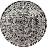 reverse: Regno di Sardegna. Carlo Felice (1821-1831). 5 lire 1829 G.    Pag. 76. Mont. 68. AG.      SPL+.
