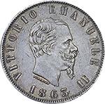 obverse: Regno di Italia. Vittorio Emanuele II (1861-1878). 2 lire 1863 N.    Pag. 506. Mont. 196. AG.     Minimi segnetti sul ciglio. SPL/SPL+.