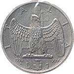 reverse: Regno di Italia. Vittorio Emanuele III (1900-1943). Lira 1936.    Pag. 789. Mont. 218. NI.    R.  qFDC. Periziata.