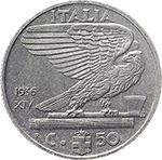 reverse: Regno di Italia. Vittorio Emanuele III (1900-1943). 50 centesimi 1936.    Pag. 818. Mont. 259. NI.    R. Lieve ossidazione al D/. qFDC. Periziata.