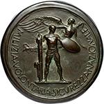 reverse: Benito Mussolini (1883-1945), Duce d Italia. Medaglia fusa A. II.  D/ Busto a destra con copricapo della milizia, ai lati A. II. R/ MILIZIA.VOLONTARIA.SICVREZZA.NAZIONALE. Eroe nudo con scudo e fascio. Cas. manca. AE.   mm. 118.00 Inc. S. Johnson. RRR.  SPL.
