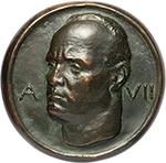 obverse: Benito Mussolini (1883-1945), Duce d Italia. Medaglia fusa A. VII.  D/ Busto a sinistra, ai lati A. VII. R/ V. EIII P.XI RECONCILIATIO. Corona sopra nodo sabaudo e tiara papale tra tre fasci. Cas. manca. AE.   mm. 116.00 Inc. S. Johnson. RRR.  SPL.